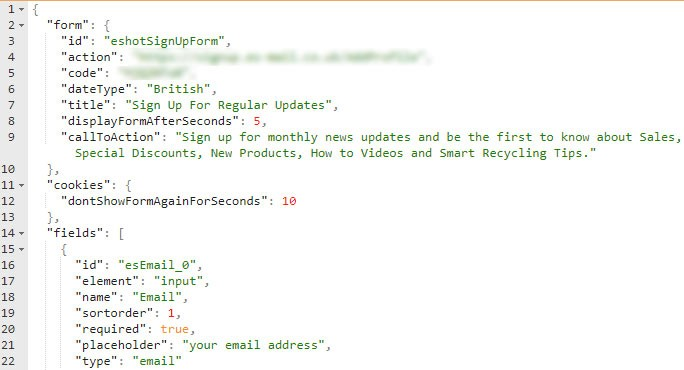 Example Of Json Used To Configure Eshot Pop Up Plugin