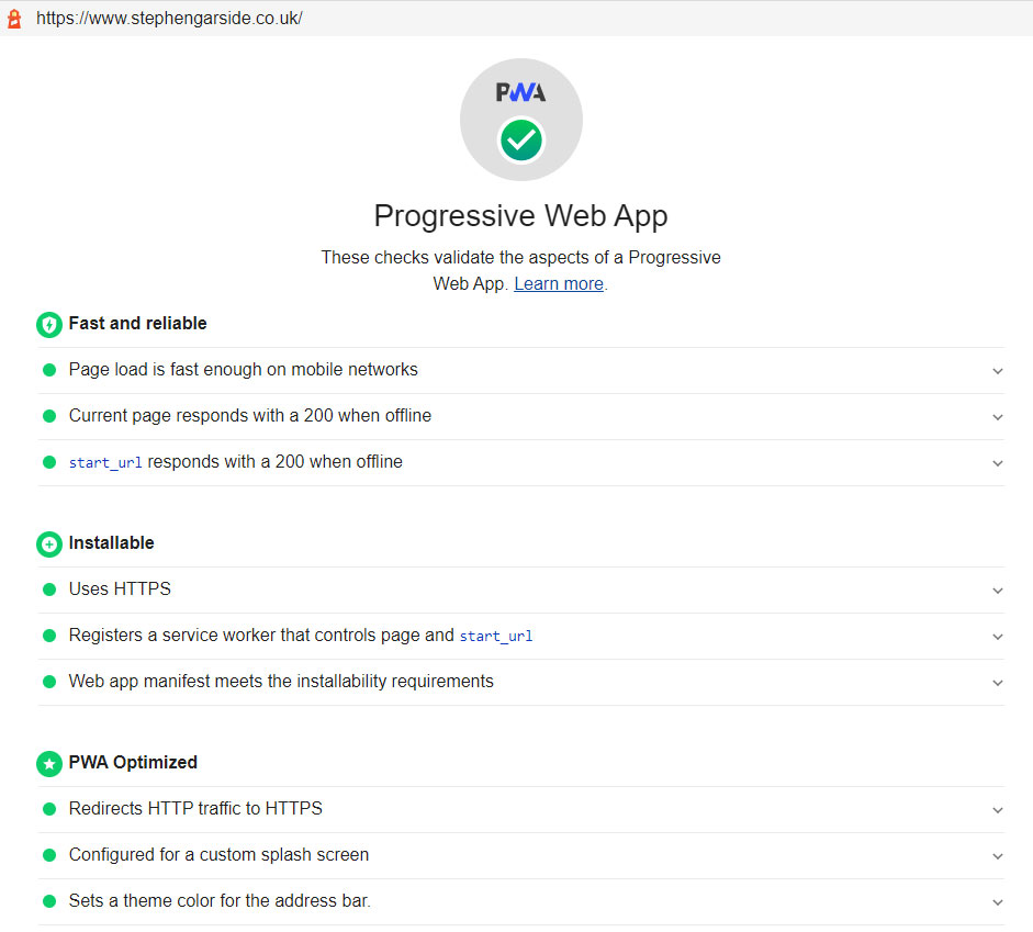 Progressive Web App Test Results In Google Lighthouse